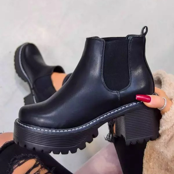 Women Ankle Boots Round Toe Pu Leather Square High Heel Fashion