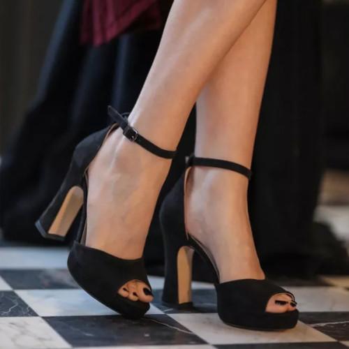 Rose Black Suede Platform Shoes