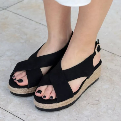Black Padding Bottom Sandals