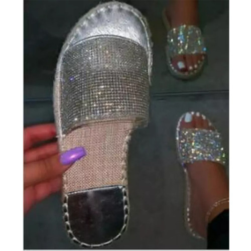 Women Summer Sandals Flats Plus Size Shoes Woman Shiny Bling Crystal Deco Slippers Open Toe Sandalias