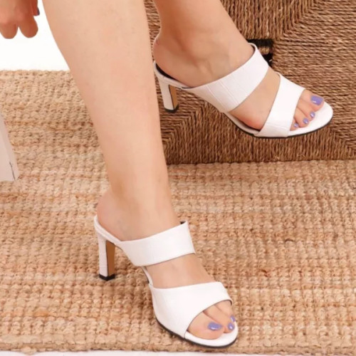 White Chunky Heels Slippers Sandals Fashion