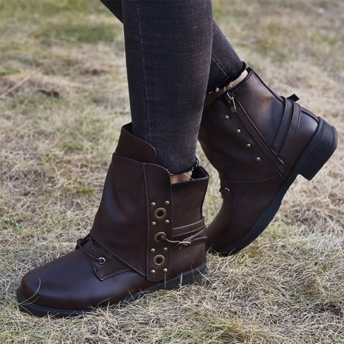 Women Ankle Boots Vintage Low Heels Women's Metal Zip Buckle Shoes Short Boots