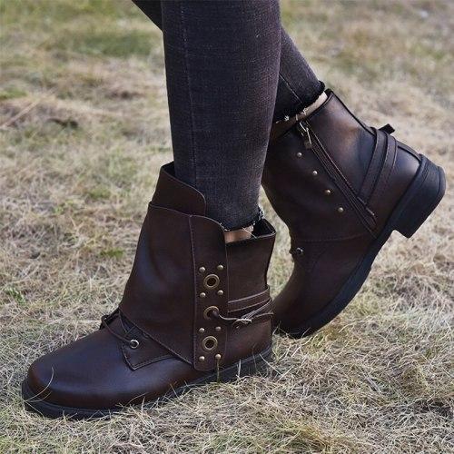 Women Ankle Boots 2020 Woman Vintage Low Heels Women's Metal Zip Buckle Shoes Female Autumn Short Boots Ladies Footwear Big Size