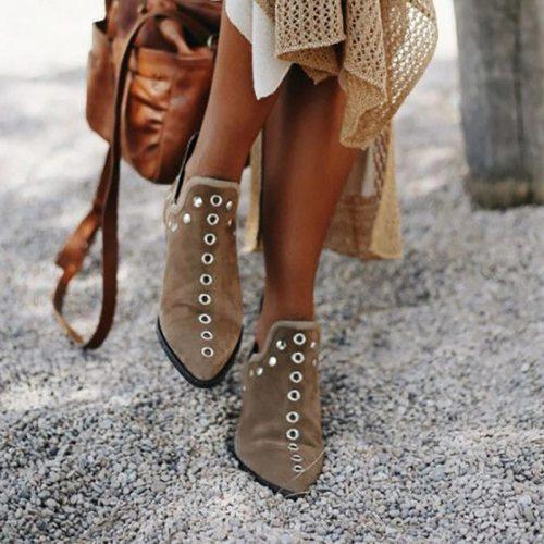 2020 Women Ankle Boots Fashion Retro Rivet Boots Woman Autumn Winter Pointed Toe Shoes Female Low Heel Footwear Plus Size 35-43