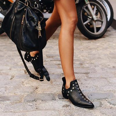 Women Ankle Boots Fashion Retro Boots Woman Pointed Toe Shoes Heel Footwear
