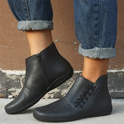 Women Leather Ankle Boots Women's Comfortable Flats Woman Stripe Zip Boots