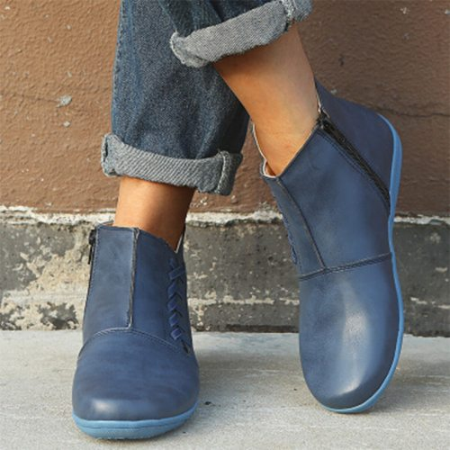 Women Leather Ankle Boots 2020 Women's Comfortable Flats Woman Stripe Zip Short Boots Ladies Casual Footwear Shoe Plus Size