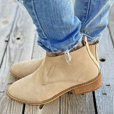 Woman Vintage Ankle Boots Low Heels Women's Casual Elastic Band Shoes Ladies