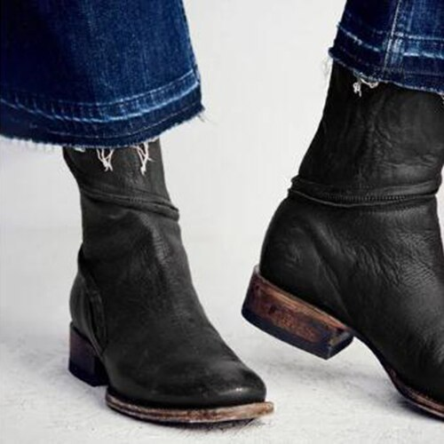 Boots Women Winter Vrouwen Vintage Western Boots Cowboy women Autumn Winter Flat Heel Casual Shoes Bote Femme