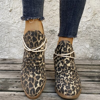 Female Autumn Short Boots PU Slip On High Heel Fashion Chelsea Boots Leopard Patchwork Shallow Ladies Shoes