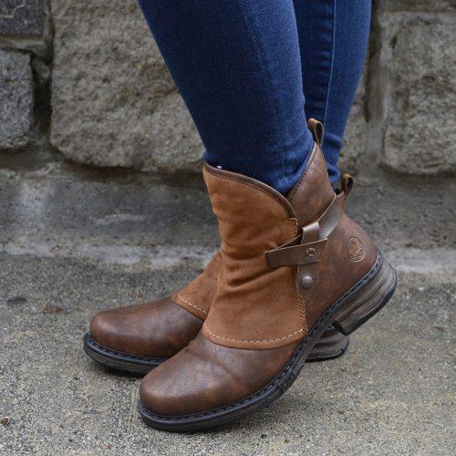 Winter Warm Women Ankles Boots Pu Leather Patchwork Plush Zipper Buckle Low Heel Female Plush Casual Shoes Short Botas