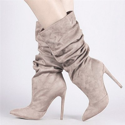 Women Mid Calf Boots Woman Thin High Heels 2020 Women's Pleated Pointed Toe Sexy Pumps Ladies Party Shoe Female Winter Plus Size