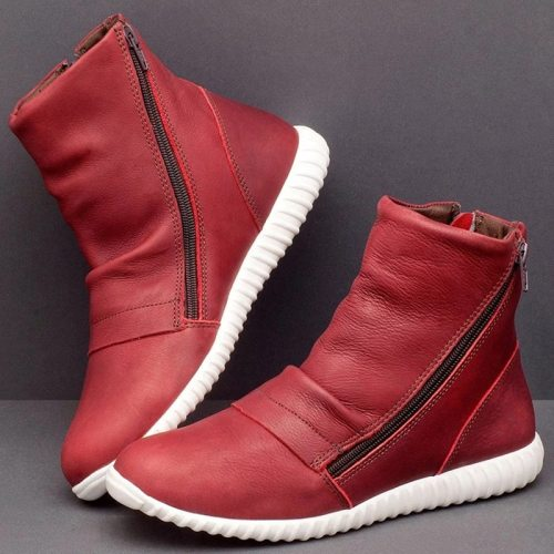 Leather Casual Ankle Boots Comfortable Flat Shoe Warm Botas