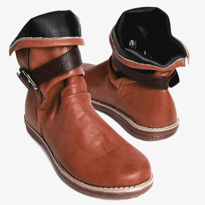 Women Boots Flat Casual Shoes Brown Leather Ankle Boots Comfortable