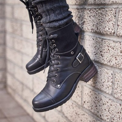 Women's Leather Ankle Boots Winter Women Retro Lace Up Motorcycle Mid Heels Woman Buckle Ladies Non Slip Female Shoes Plus Size