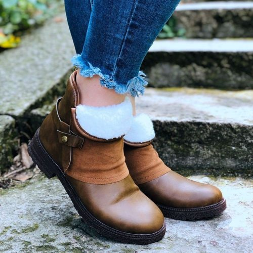 2020 Winter Fashion Women Ankles Boots Plush Pu Leather Patchwork Zipper Buckle Low Heel Female Casual Plush Short Martin Boots