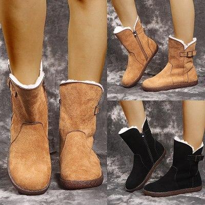 Women Snow Boots Winter Warm Short Plush Shoes Women's  Buckle Ankle Boots Ladies Fur Flats Woman Zip Footwear Female Plus Size