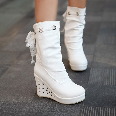 2020 Winter Boots Women Shoes Warm Comfortable Casual Snow Boots Round Toe Female Plush Mid Heel Boots Ladies Mid-Calf Boots
