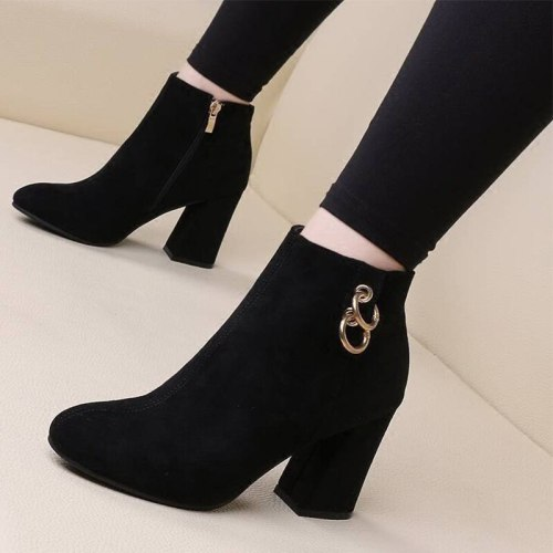 Ankle Boots Pumps Ladies Shoes High Heels Pointed Toe Plus Size Fashion Shoe