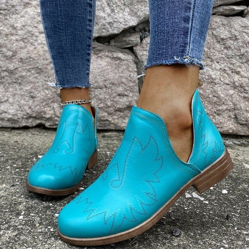 Woman Ankle Ponited Toe Shoes Patchwork Sequined Booties Square Heel Shoes