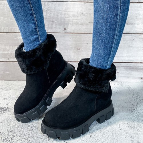 Women's Ankle Boots Platform Snow Ladies Plush Sneakers Casual Flat Shoes