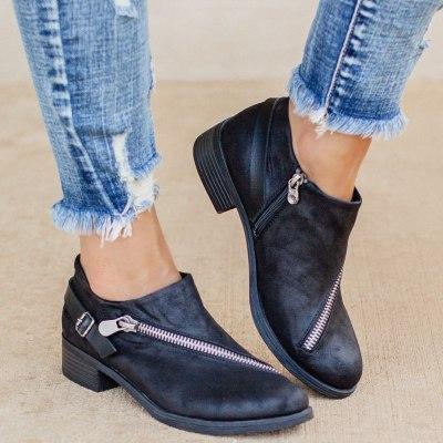 Woman Vintage Low Heels Women Retro PU Leather Ankle Boots 2020 Women's Zip Ladies Shoes Female Short Boots Plus Size 43