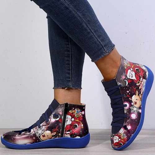 Fashion Women's Boots new Casual Flat Leather Retro Lace-up Boots Side Zipper Round Toe Shoes Boots Plus Size Women Autumn Shoes