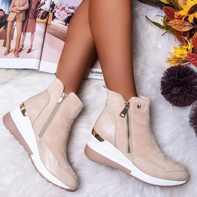 Women Boot 2020 Autumn Winter High Top Vulcanize Shoes Women Platfrom Wedges Shoes Zipper Chunky Sneakers Female Shoes Plus Size