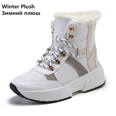 Women Boots Split Leather Super Warm Fur Winter Boots Shoes Platform Ankle Boots