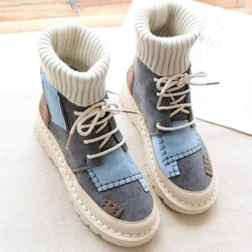 Women Boots Warm Sneakers Women Ankle Snow Lace-up Ladies Shoes
