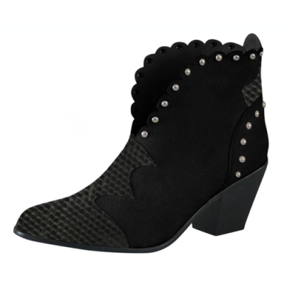 Women Ankle Boots Fashion Pointed Toe Snakeskin Boots Lace Short Boots