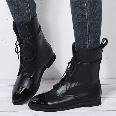 New Patent Leather British Style Flat Boots Black Pointed Toe Boots Handsome Motorcycle Boots Women's Boots Plus Size 35-43