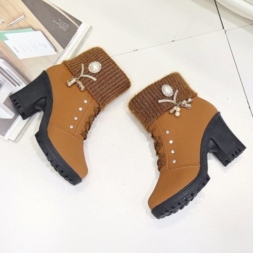 2020 Women Winter New High-heeled Boots Casual Lace-up Side Pull Plus Velvet Warm Cotton Shoes Thick Heel Low Tube Cotton Boots