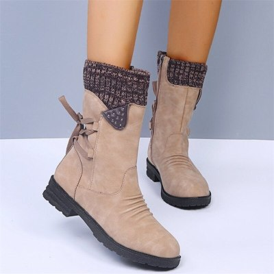 2020 Winter Women's Boots Fashion Women Mid-calf Boots Retro Zipper Boots Low-heeled Warm Mid-calf for Women Shoes Botas Mujer