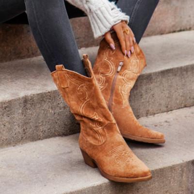 Flat Platform Cowboy Boots Women Shoes Autumn Winter Fur Leather Boots Fashion Round Toe High heels  Ladies Shoes