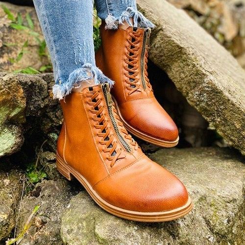 Winter Women Boots Fashion Zipper Ankle Boots Thicken Plush Warm Block Heel