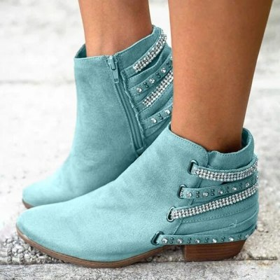 2020 Winter Women Ankle Boots Low-Heels Round Toe Ladies Boots Casual Zipper Shiny Crystal Warm Booties Females Shoes