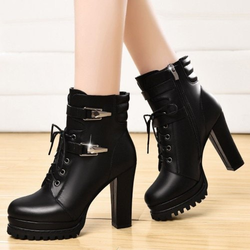 2020 Winter Fashion Women's Boots Lace-up Side Pull Thick Heel Boots Round Head Super High Heel PU Ankle Boots