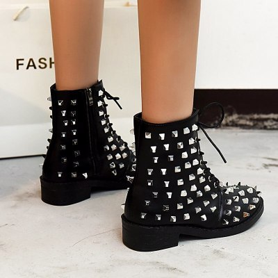 Winter Boots Women Round Head Toe Leather Booties Low Heels Ankle