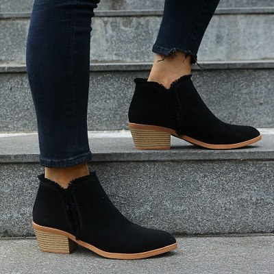 2020 New Winter Women Boots V Cutout Ankle Boots Stacked Heel Booties Fahsion Chelsea Boots PU SIze 35-43