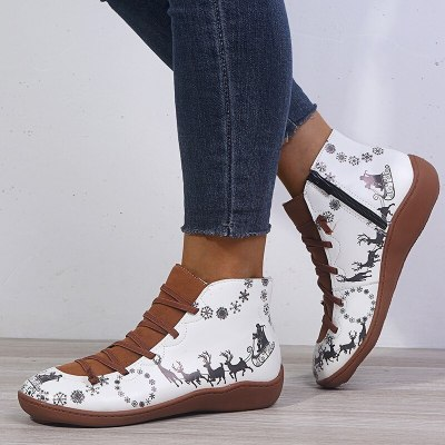 Women Ankle Boots Soft PU Leather Casual Female Fashion Shoes