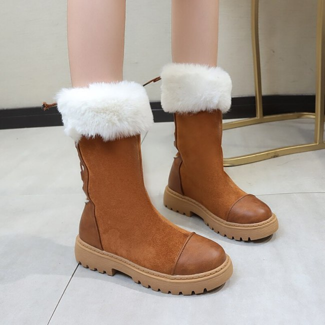 Women Boots 2020 Leather Ankle Boots Flat Shoes Winter Snow Boots Platform Zipper Punk Boots Thicken Plush Wool Botas Mujer