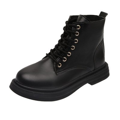 Women Boots Fashion Lace-up Mid-heel Ankle Boots Chunky Heel