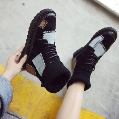 New Winter Women Boots High Quality Warm Fur Plush Sneakers Women Ankle Snow Boots Women Lace-up Ladies Shoes botas mujer
