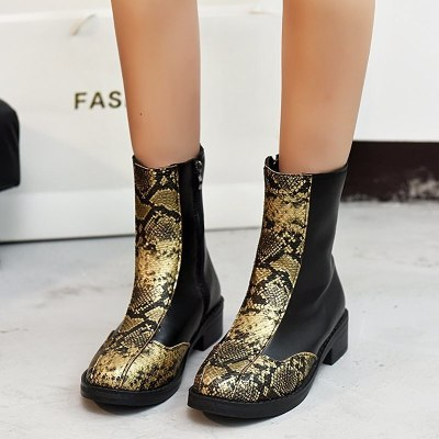 Women Boots Leather Ankle Boots Flat Shoes Snow Boots Platform Zipper Boots
