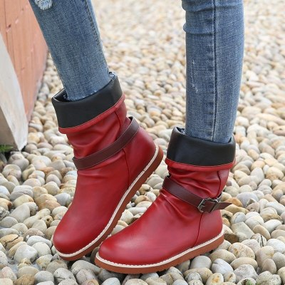 2020 Women Winter Mid-Calf Boot Flock Winter Shoes Ladies Fashion Snow Boots Shoes Thigh High Suede Warm Botas