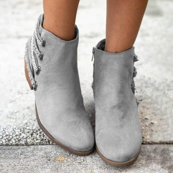 Winter Women Ankle Boots Round Toe Ladies Boots Casual Zipper Warm
