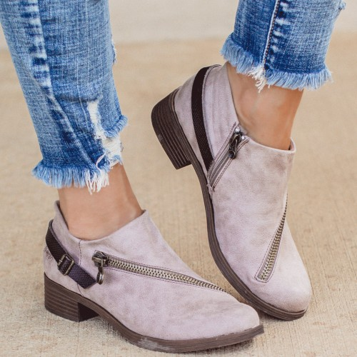 Woman Vintage Low Heels Retro PU Leather Ankle Short Boots