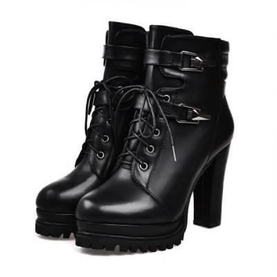 Fashion Women's Heel Boots Round Head Super High Heel PU Ankle Boots