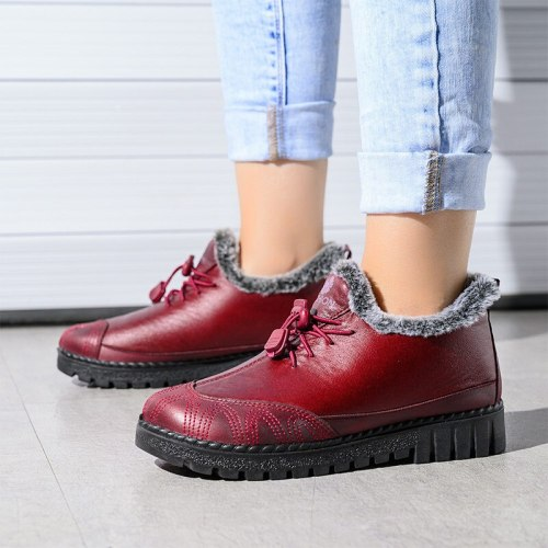 Women Fur Snow Boots Ankle Boot Casual Platform PU Leather Lace Up Female shoes